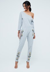 Missguided Grey Off The Shoulder Embroidered Jumpsuit
