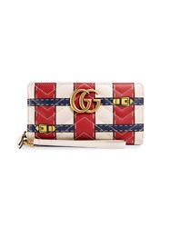 Gucci Gg Marmont Trompe L'oeil Zip Around Wallet Women Leather Metal One Size Red