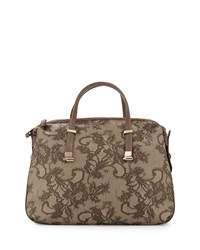 Valentino Lace Embossed Leather Satchel Bag Brown