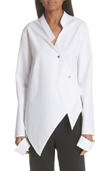 Ji Oh Asymmetrical Button Front Shirt White