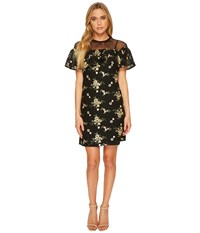 Donna Morgan Short Sleeve Embroidered Lace With Illusion Neckline And Tie Black Yellow Sapphire Women's Clothing