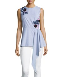 Suno Sleeveless Embroidered Striped Shirting Top Blue