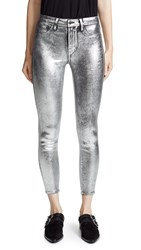 L'agence Margot High Rise Skinny Jeans Silver Foil