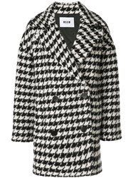 Msgm Houndstooth Pea Coat Black