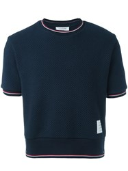 Thom Browne Knitted T Shirt Blue