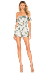 Superdown Aviana Off Shoulder Romper Green