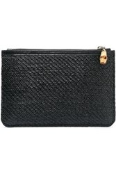Kayu Woman Sawyer Leather Trimmed Glossed Straw Pouch Black