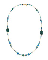 Jose And Maria Barrera Long Cinnabar Agate Beaded Necklace Blue