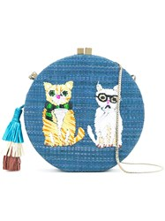 Serpui Embroidered Cat Shoulder Bag Women Wood One Size Blue