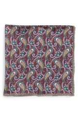 Men's Robert Talbott Paisley Silk Pocket Square Red Burgundy