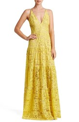 Dress The Population Women's Melina Lace Fit And Flare Maxi Sunflower Lace
