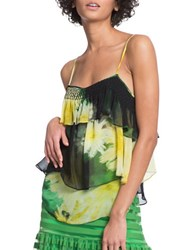Tracy Reese Floral Flounced Cami Yellow