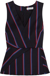 Altuzarra Miles Striped Wool And Cotton Blend Peplum Top Navy