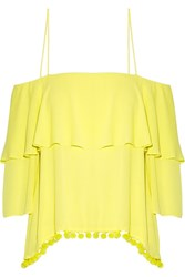 Alice Olivia Meagan Off The Shoulder Embellished Crepon Top Bright Yellow