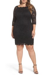 Decode 1.8 Plus Size Women's Glitter Lace Cocktail Dress Black