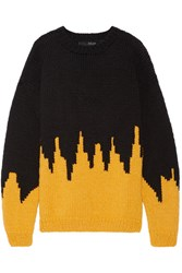 Sibling Oversized Intarsia Wool Blend Sweater Saffron