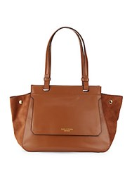 Halston Zipped Leather Handbag Cognac