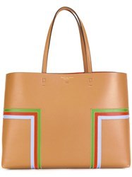 Tory Burch Block T Stripe Tote Nude Neutrals
