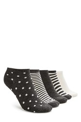 Forever 21 Polka Dot Ankle Sock Set Charcoal Cream