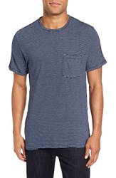 Velvet By Graham And Spencer Men's Legend Stripe Pique T Shirt Neptune Blue