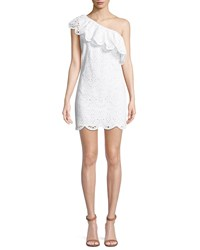Cupcakes And Cashmere Cosmo One Shoulder Ruffle Eyelet Dress White