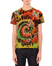 Valentino Tie Dye Short Sleeve T Shirt With Embroidered Butterflies Multi