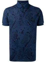 Etro Embroidered Polo Top Blue