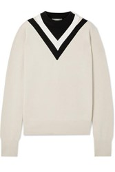 Helmut Lang Color Block Wool Blend Sweater Beige