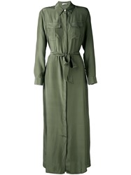 P.A.R.O.S.H. Maxi Shirt Dress Women Silk S Green
