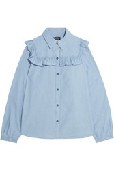 A.P.C. Atelier De Production Et De Creation Memphis Ruffled Cotton Chambray Shirt Light Blue