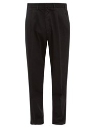 The Gigi Tapered Herringbone Cotton Blend Trousers Black