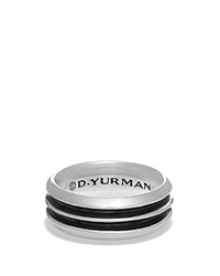 David Yurman Royal Cord Knife Edge Band Ring Silver Black