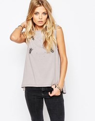 Rock And Religion Acid Wash Swing Vest With Chain Detail Grey Marl