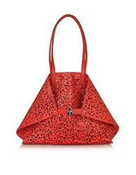 Akris Ai Medium Scarlet Zinnia Laser Cut Leather Tote Bag W Inner Canvas Tote