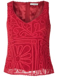 Martha Medeiros Lace Blouse Women Silk 44 Red