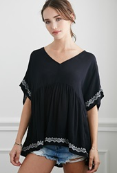 Forever 21 Embroidered Babydoll Top Black Cream