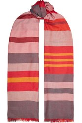 Johnstons Of Elgin Reversible Frayed Striped Cashmere And Silk Blend Scarf Pink