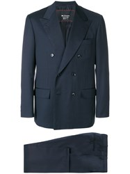 Kiton Double Breasted Suit Blue