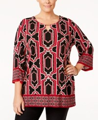 Jm Collection Plus Size Geometric Print Embellished Top Only At Macy's Red Geo Soldier