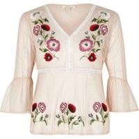 River Island Pink Mesh Floral Embroidered Peplum Hem Top