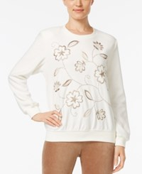 Alfred Dunner Embroidered Studded Sweatshirt Ivory