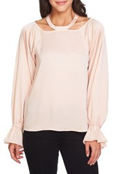 1.State Women's Cold Shoulder Satin Blouse Blush Frost