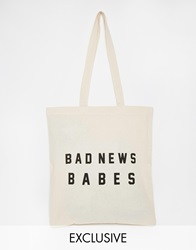 Reclaimed Vintage Bad News Tote Bag Beige