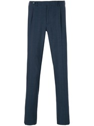 Berwich Micro Houndstooth Check Trousers Blue
