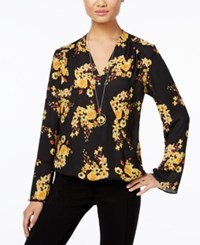 Inc International Concepts Petite Printed Surplice Blouse Only At Macy's Deep Black