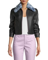 Coach X Selena Gomez Leather Jacket With Faux Fur Collar Black
