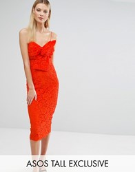 Asos Tall Lace Cami Bow Front Midi Pencil Dress Orange