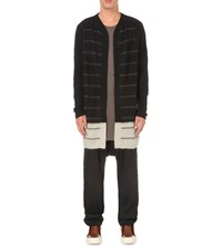 Rick Owens Striped Knitted Cardigan Black White