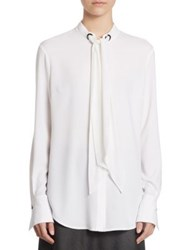 St. John Satin Tie Neck Blouse White