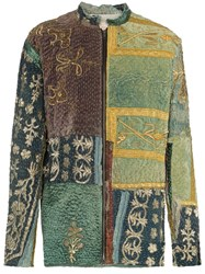 By Walid Embroidered Panels Silk Jacket Green